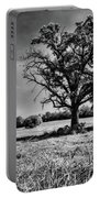 Lone Oak Tree In Black And White Portable Battery Charger