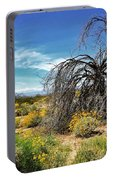 Lone Tree In Blooming Desert Portable Battery Charger
