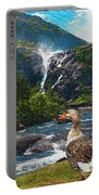 Lonely Near The Waterfall 1 Portable Battery Charger