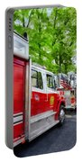 Long Line Of Fire Trucks Portable Battery Charger