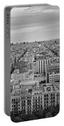 Looking Down On Barcelona From The Sagrada Familia Black And White Portable Battery Charger