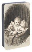 Lorenz Frolich Danish, Copenhagen 1820-1908 Hellerup, Child In A Crib Portable Battery Charger