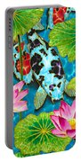 Lotus  Flower  And  Koi Fish Portable Battery Charger