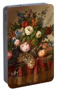 Louis Vidal, Still Life With Flowers And Fruit Portable Battery Charger