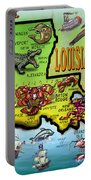 Louisiana Cartoon Map Portable Battery Charger
