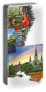 Louisiana Map - New Orleans Portable Battery Charger