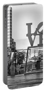 Love On The Parkway In Black And White Portable Battery Charger