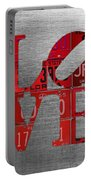 Love Sign Philadelphia Recycled Red Vintage License Plates On Aluminum Sheet Portable Battery Charger