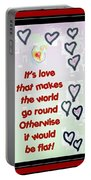 Love World Round Flat Red Portable Battery Charger