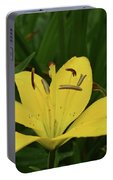 Lovely Close Up Of A Yellow Lily In Full Bloom Portable Battery Charger