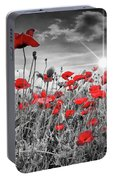 Lovely Field Of Poppies With Sun  Portable Battery Charger
