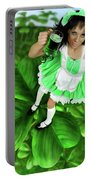 Lovely Irish Girl With A Glass Of Green Beer Portable Battery Charger