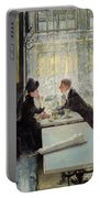 Lovers In A Cafe Portable Battery Charger