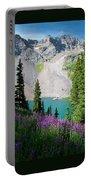 Lower Blue Lake Summer Portrait Portable Battery Charger by Cascade Colors