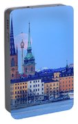 Lunar Teamwork Full Moon Rising Over Gamla Stan In Stockholm Portable Battery Charger