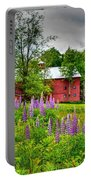 Lupines And The Red Barn Portable Battery Charger