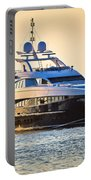 Luxury Yacht On Golen Sunset Portable Battery Charger
