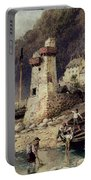 Lynmouth In Devonshire Portable Battery Charger by Myles Birket Foster