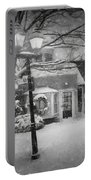 Mablehead Market Square Snowstorm Old Town Evening Black And White Painterly Portable Battery Charger