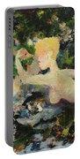 Madame De Pompadour In The Garden Of Eden Portable Battery Charger