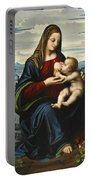 Madonna And Child Before A Landscape Portable Battery Charger