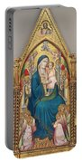 Madonna And Child Enthroned With Twelve Angels Portable Battery Charger