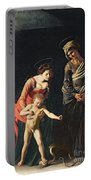 Madonna And Child With A Serpent Portable Battery Charger by Michelangelo Merisi da Caravaggio