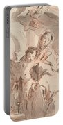 Madonna And Child With Saint Portable Battery Charger