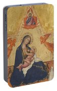Madonna Of Humility The Blessing Christ Two Angels And A Donor Portable Battery Charger