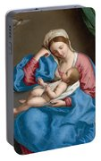 Madonna With The Infant Christ Child Holding A Goldfinch On A String  Portable Battery Charger