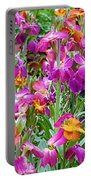 Magenta Floral Pattern Portable Battery Charger