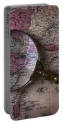 Magnifying  Glass On Old Map Portable Battery Charger