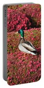 Mallard On A Floral Carpet Portable Battery Charger