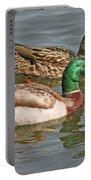 Mallard Pair Swimming, Waterfowl, Ducks Portable Battery Charger