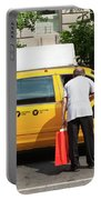 Man Asks For Information A Taxi Driver In Manhattan. Portable Battery Charger