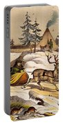 Man Riding Reindeer-drawn Sleigh Portable Battery Charger