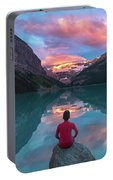 Man Sit On Rock Watching Lake Louise Morning Clouds With Reflect Portable Battery Charger