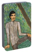 Man Sitting Under Willow Tree Portable Battery Charger