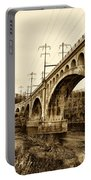 Manayunk Bridge Across The Schuylkill River In Sepia Portable Battery Charger