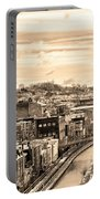 Manayunk In March - Canal View In Sepia Portable Battery Charger