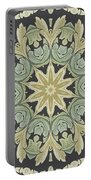 Mandala Leaves In Pale Blue, Green And Ochra Portable Battery Charger