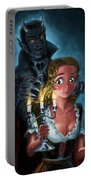 Manga Vampire And Woman Horror Portable Battery Charger by Martin Davey