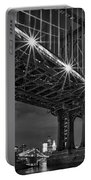 Manhattan Bridge Frames The Brooklyn Bridge Portable Battery Charger by Susan Candelario