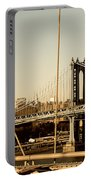 Manhattan Bridge From The Brooklyn Bridge  Portable Battery Charger