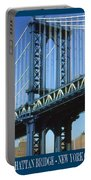 New York City Poster - Manhattan Bridge Portable Battery Charger