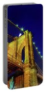 Manhattan Skyline From The Brooklyn Bridge At Dusk Portable Battery Charger