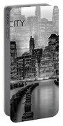 Manhattan Skyline - Graphic Art - White Portable Battery Charger