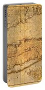 Map Of Long Island New York State In 1842 On Worn Distressed Canvas  Portable Battery Charger