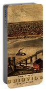 Map Of Louisville Kentucky Vintage Birds Eye View Aerial Schematic On Old Distressed Canvas Portable Battery Charger