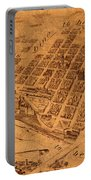 Map Of Minneapolis Minnesota Vintage Birds Eye View Aerial Schematic On Old Distressed Canvas Portable Battery Charger